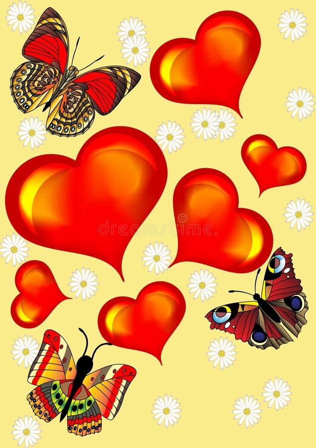 Fundo com borboleta do coração ilustração do vetor