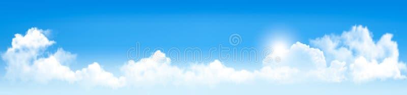 Fundo com céu azul e nuvens ilustração stock