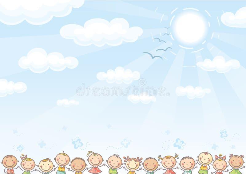 Fundo com céu e lotes das crianças ilustração royalty free