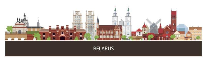 Fundo com construções do país de Bielorrússia e lugar para o texto bandeira horizontal da orientação, inseto, encabeçamento para  ilustração royalty free