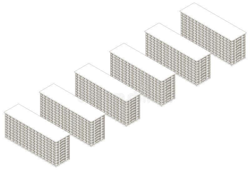 Fundo com contornos de construções do multi-andar das linhas pretas em um fundo branco Vista isométrica Vetor ilustração do vetor