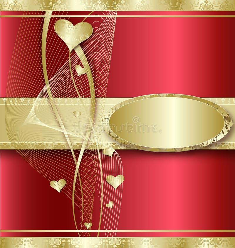 Fundo com corações dourados ilustração do vetor