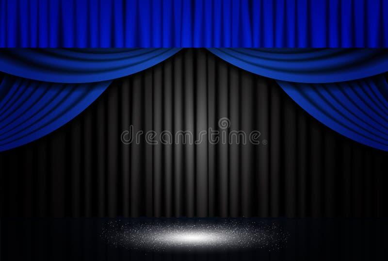 Fundo com a cortina azul e preta do teatro imagem de stock