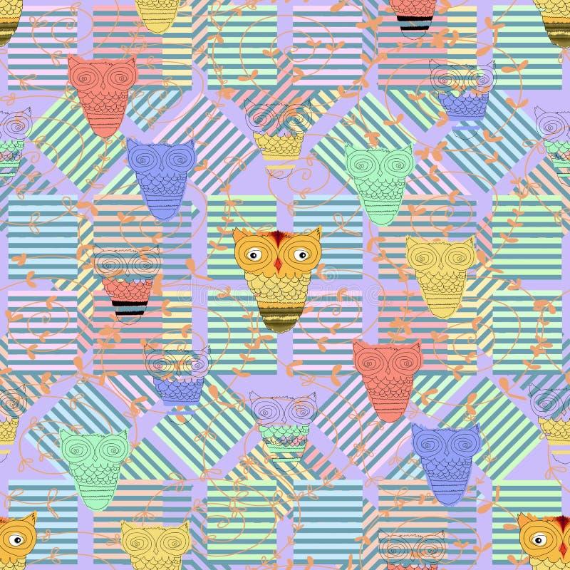 Fundo com corujas e listras em cores brilhantes seamless fotografia de stock