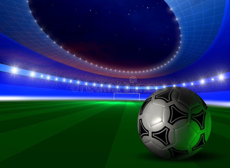 Fundo com esfera de futebol ilustração stock
