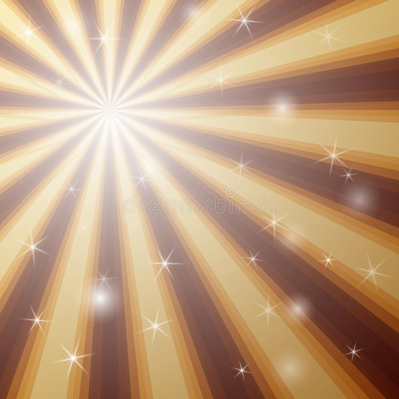 Fundo com a estrela de brilho com o pacote divergente de feixes em cores douradas e marrons ilustração royalty free
