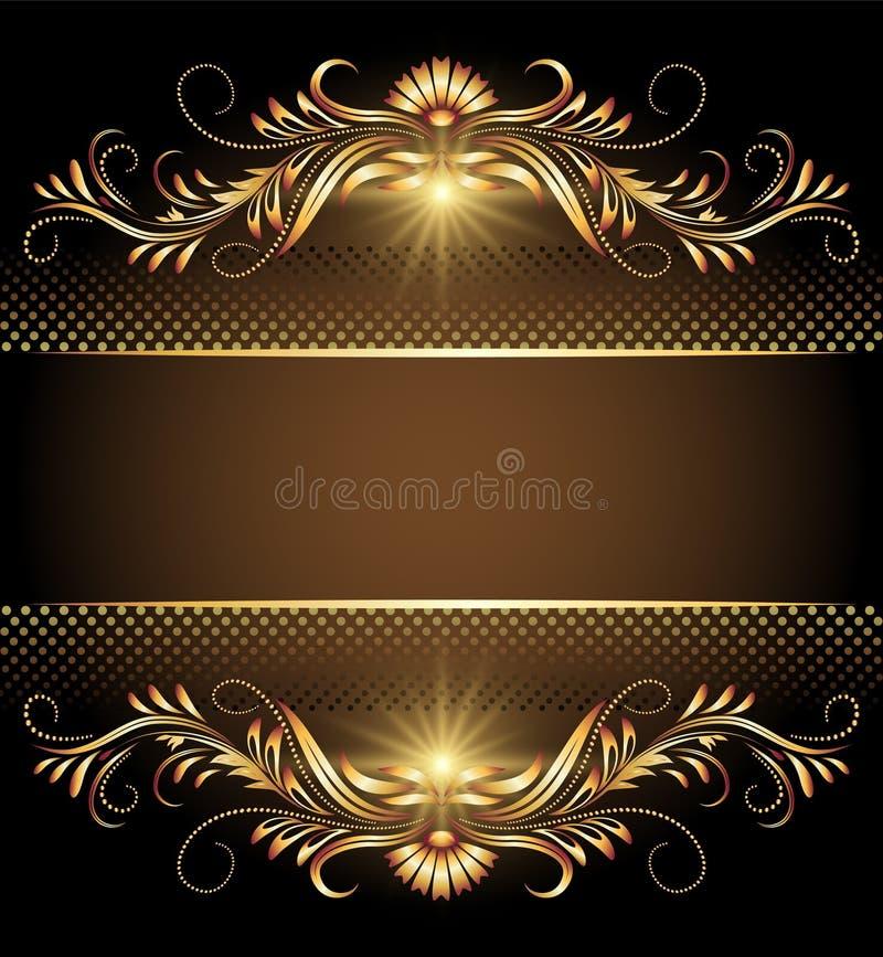 Fundo com estrelas e o ornamento dourado ilustração do vetor