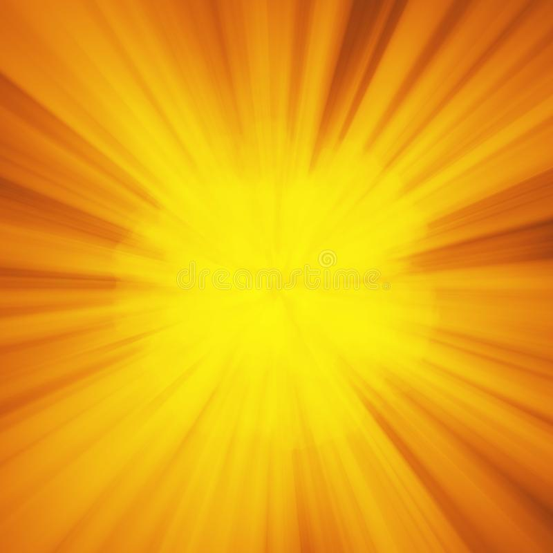 Fundo com explosão abstrata ou raios hyperspeed do deus de sol da urdidura Explosão clara amarela alaranjada brilhante da tira, r ilustração do vetor