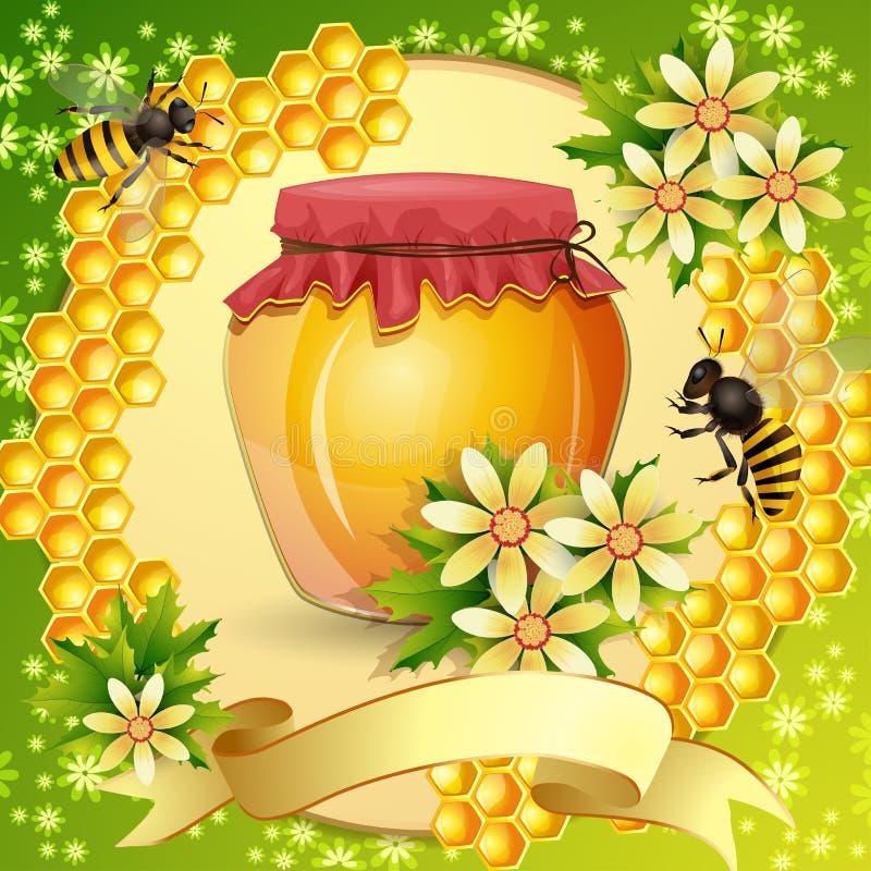 Fundo com favo de mel ilustração royalty free