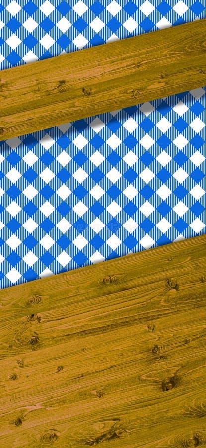 Fundo com feixes brancos da toalha de mesa e de madeira azuis ilustração stock