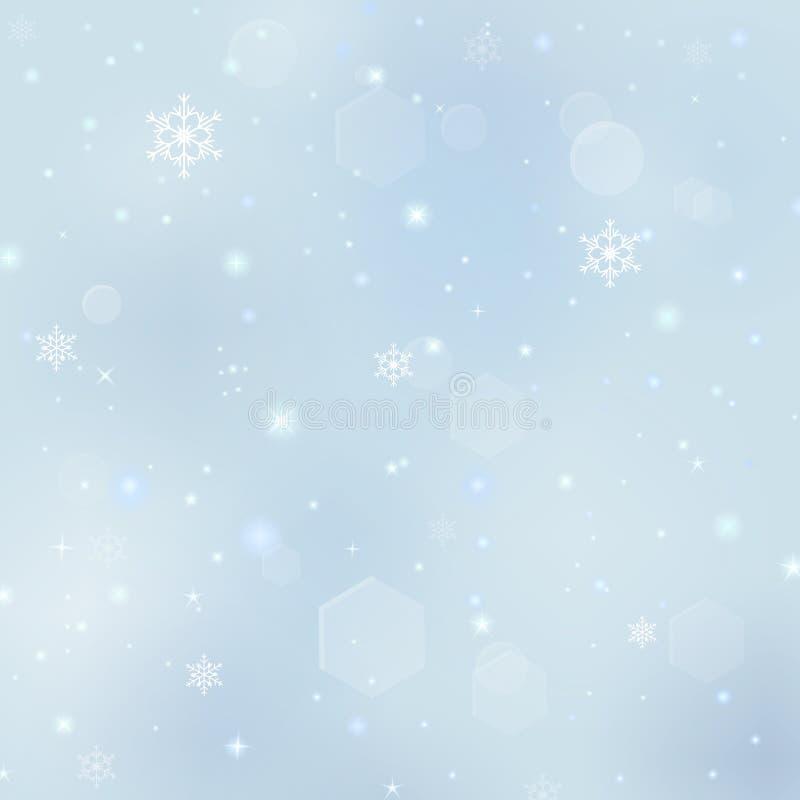 Fundo com flocos de neve, explosões do Natal das estrelas ilustração do vetor