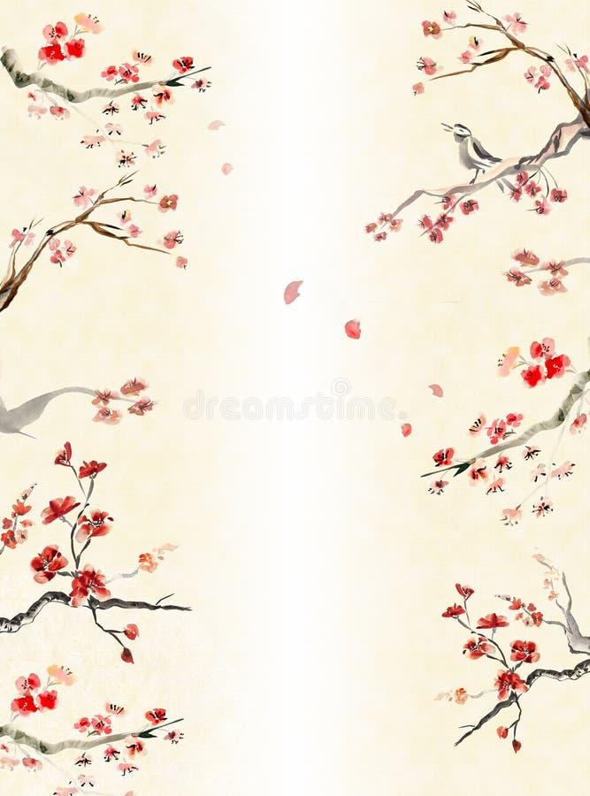 Fundo com flor da ameixa ilustração do vetor