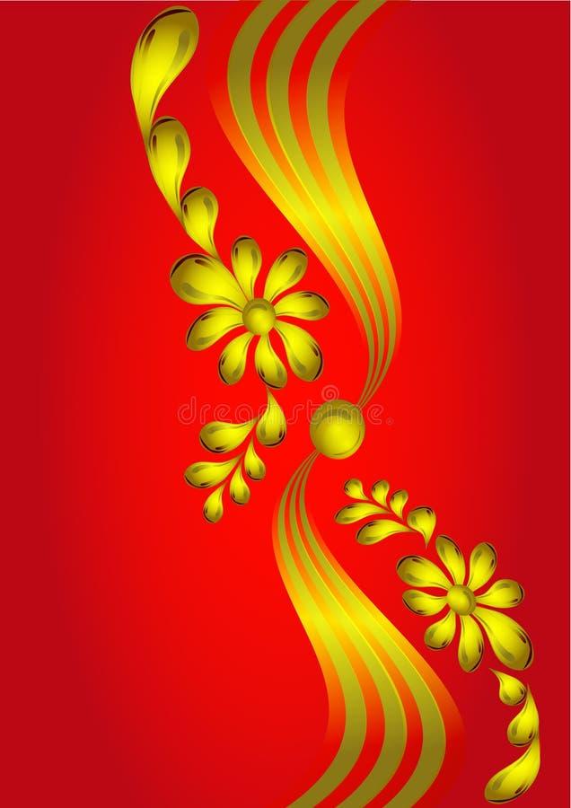 Fundo com a flor do ouro (en) ilustração stock