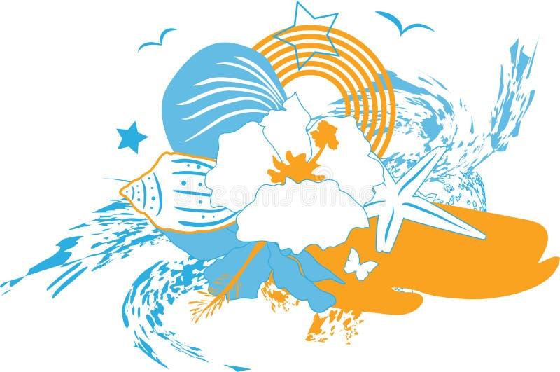Fundo com flor e o seashell tropicais ilustração do vetor