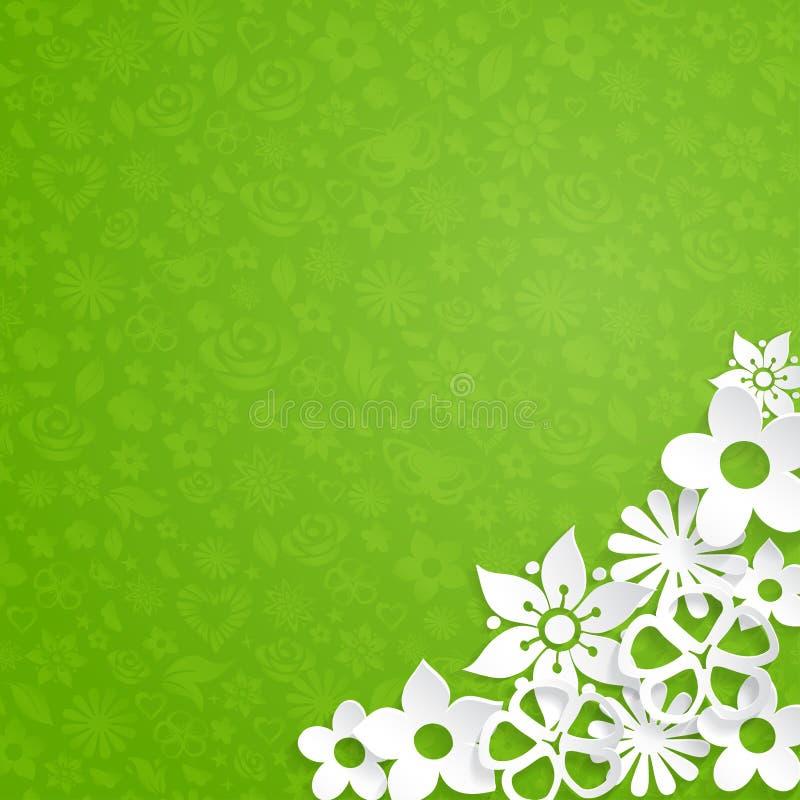 Fundo com flores de papel ilustração royalty free
