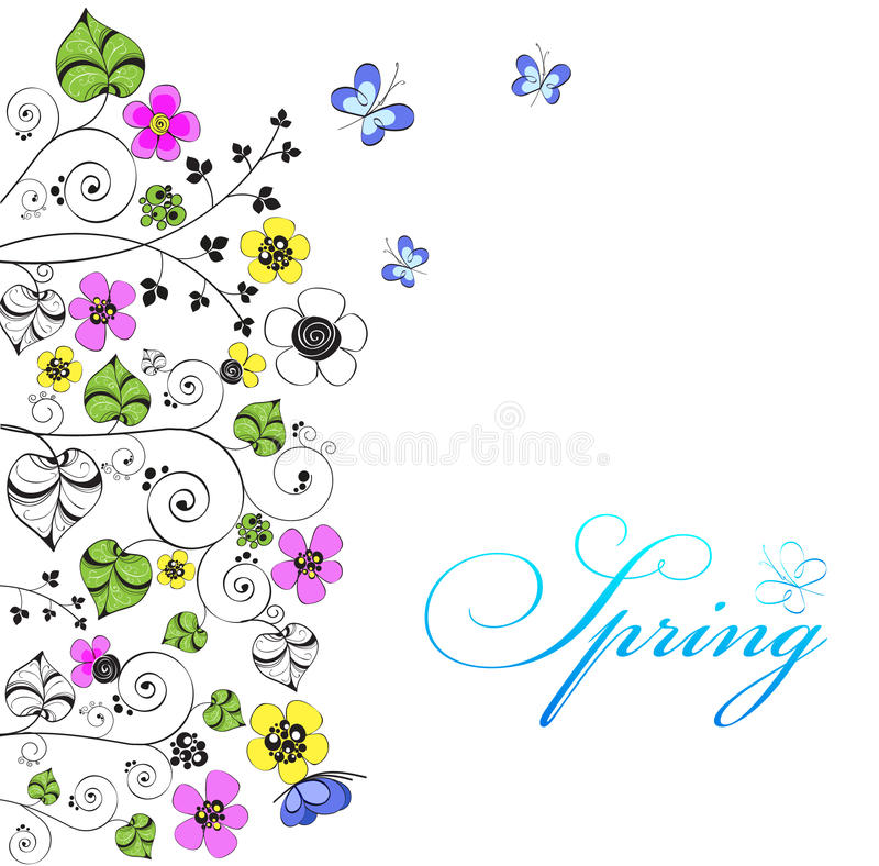 Download Fundo Com Flores E Borboletas Ilustração do Vetor - Ilustração de grama, clear: 26500220