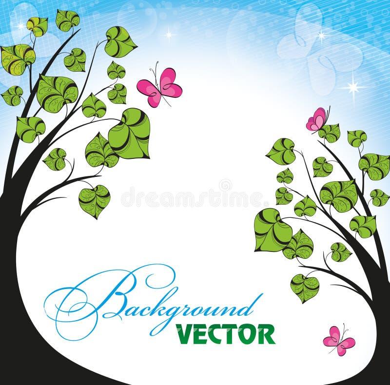 Download Fundo Com Flores E Borboletas Ilustração do Vetor - Ilustração de verde, composição: 26500239