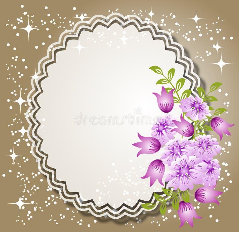 Fundo com flores e guardanapo ilustração royalty free