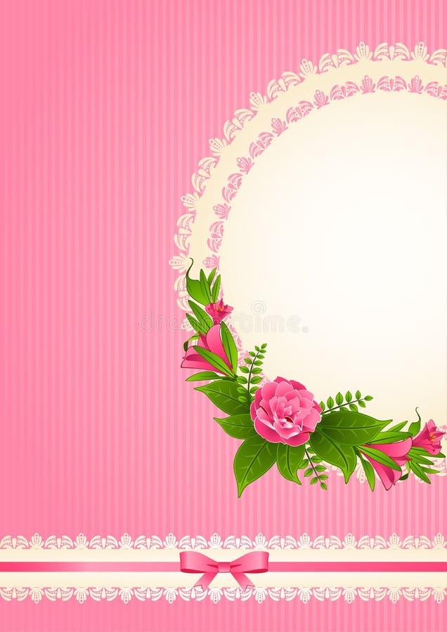 Fundo com flores e ornamento fotografia de stock