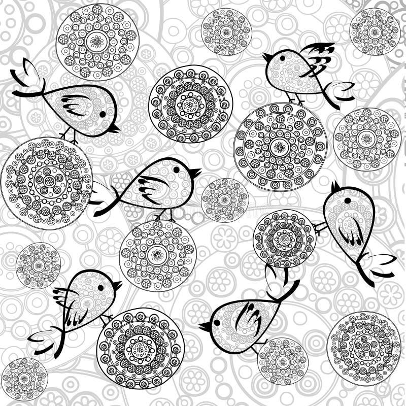 Fundo com flores e pássaros ilustração stock