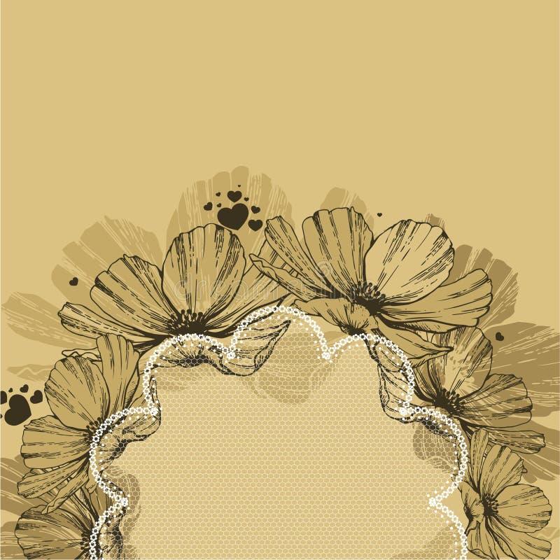 Fundo com flores, quadro do laço e corações Illustrat do vetor ilustração do vetor