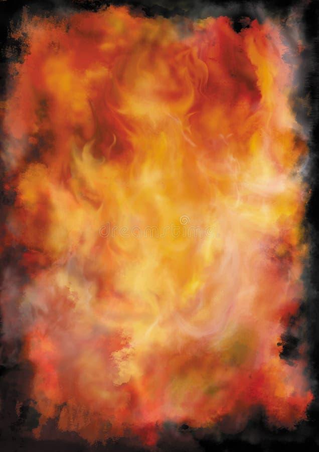Fundo com fogo e fumo ilustração stock