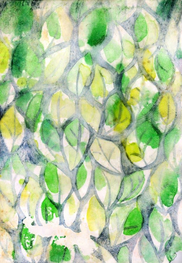 Fundo com folhas da aquarela ilustração stock