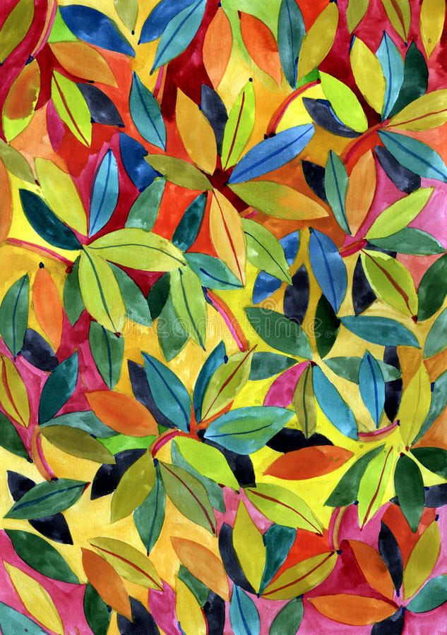 Fundo com folhas da aquarela ilustração royalty free