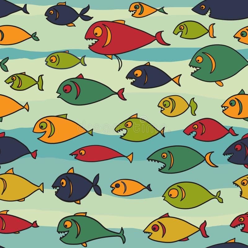 Fundo com fome dos peixes ilustração stock