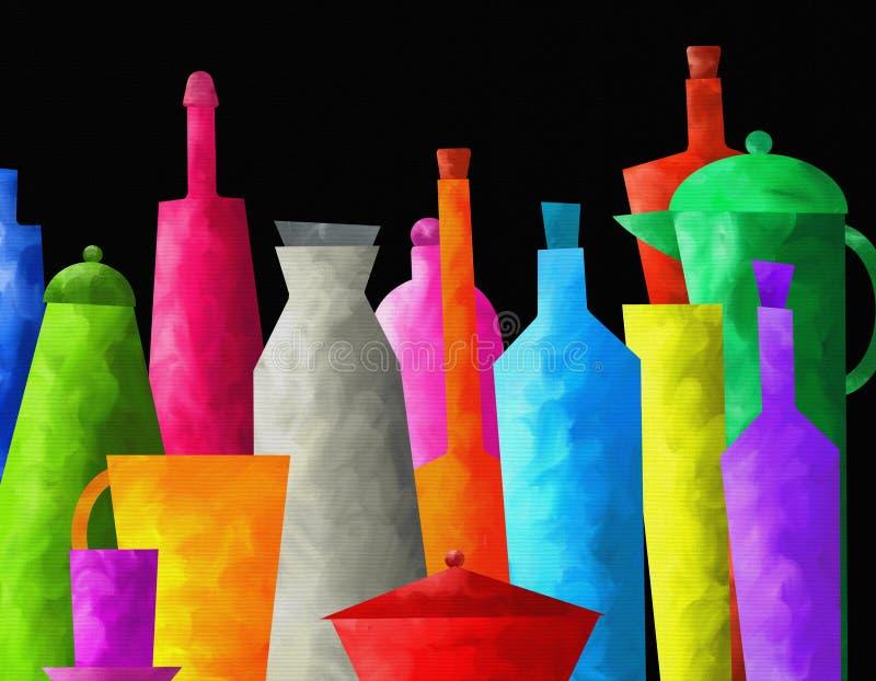 Fundo com garrafas coloridas ilustração royalty free