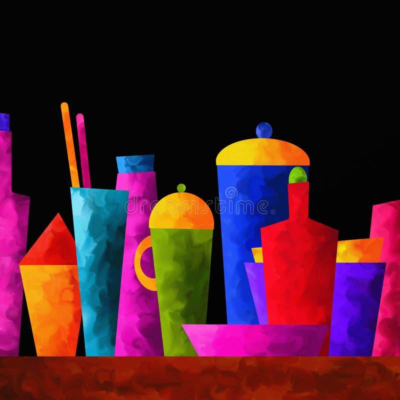 Fundo com garrafas coloridas ilustração stock