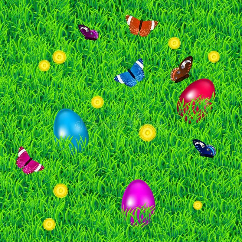 Fundo com grama, ovos da páscoa, flores e borboletas ilustração stock