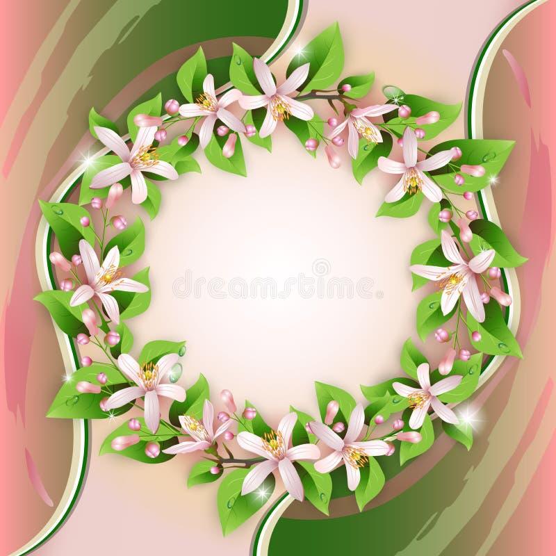 Fundo com grinalda da flor ilustração royalty free