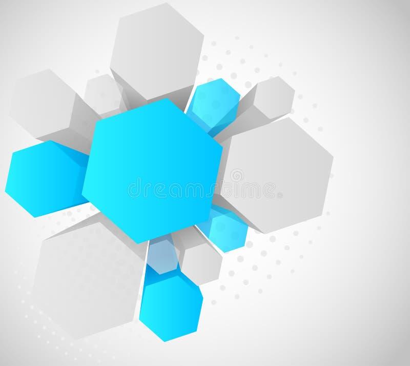 Fundo com hexágono 3d ilustração royalty free