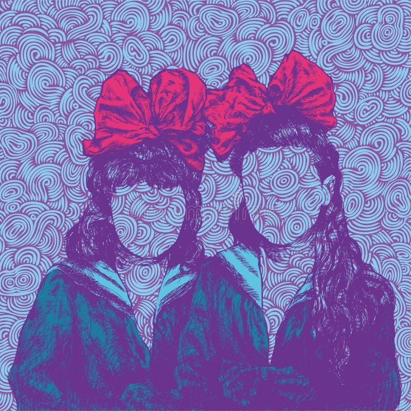 Fundo com irmãs ilustração stock