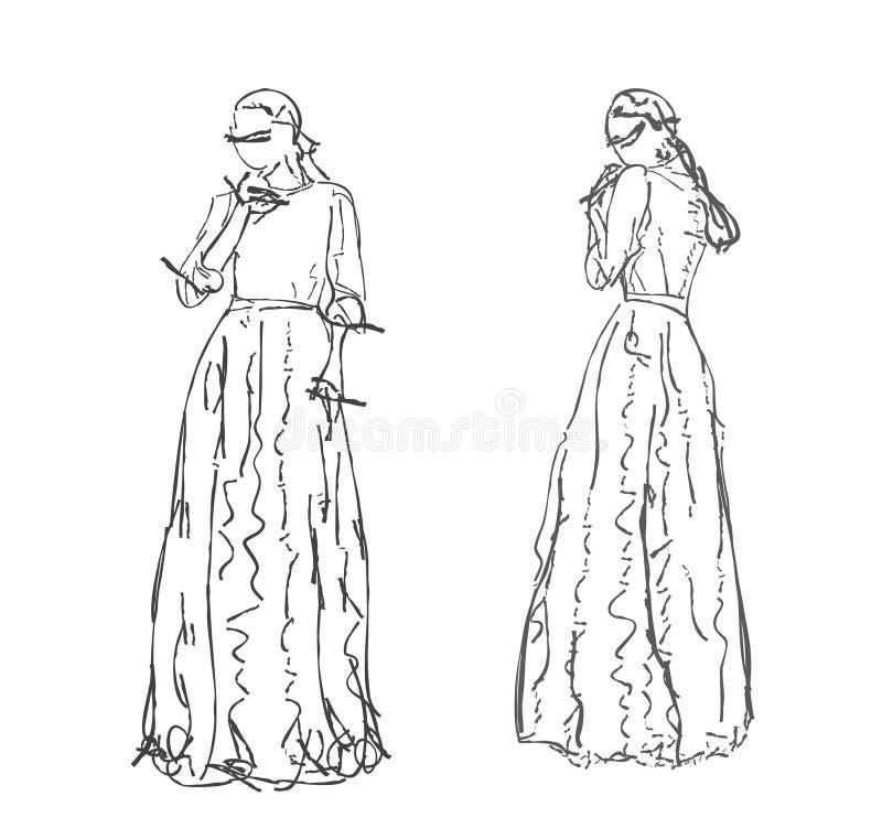 Fundo com a jovem mulher bonita ilustração stock