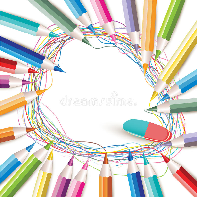 Fundo com lápis coloridos ilustração do vetor