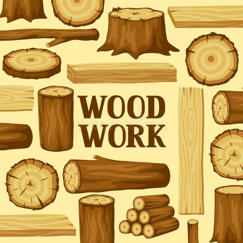 Fundo com logs, os troncos e as pranchas de madeira Projeto para a silvicultura e a indústria da madeira serrada ilustração do vetor