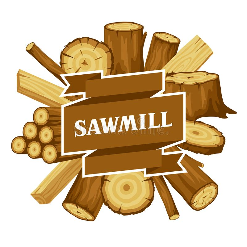 Fundo com logs, os troncos e as pranchas de madeira Projeto para a silvicultura e a indústria da madeira serrada ilustração royalty free
