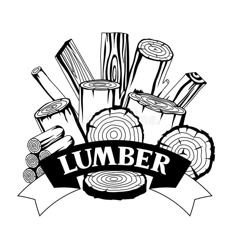 Fundo com logs, os troncos e as pranchas de madeira Projeto para a silvicultura e a indústria da madeira serrada ilustração stock