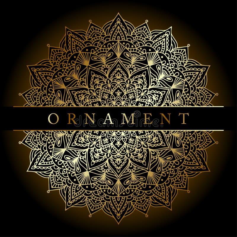 Fundo com a mandala do ornamento do ouro na cor do ouro Elemento redondo do projeto do arabesque ilustração stock