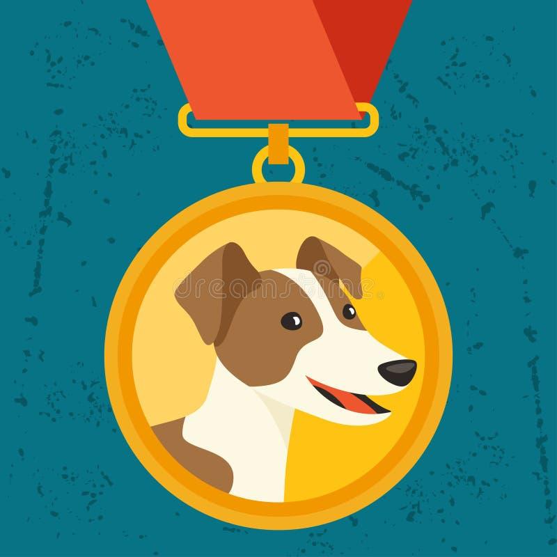 Fundo com medalha de ouro e campeão do cão ilustração stock