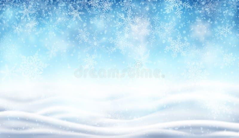 Fundo com neve e paisagem do inverno ilustração royalty free