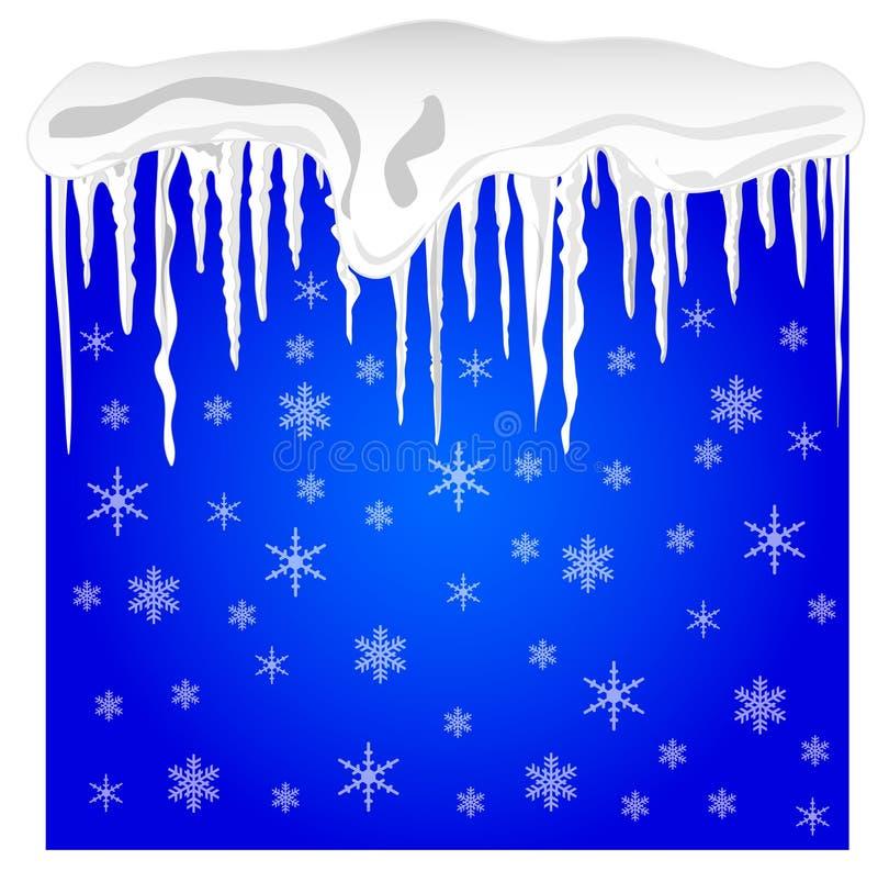 Fundo com neve e sincelos ilustração royalty free
