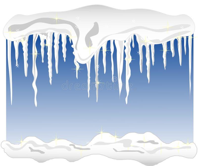 Fundo com neve e sincelos ilustração stock