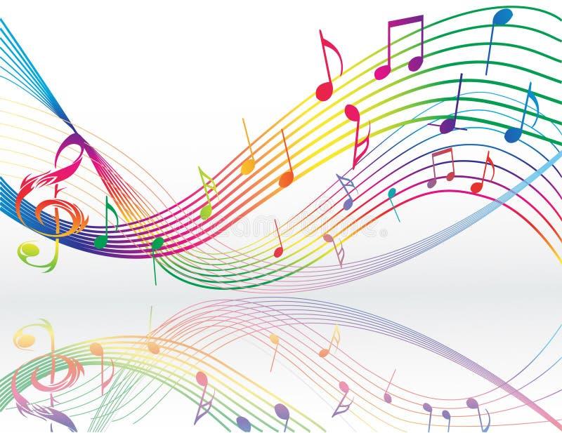 Fundo com notas da música ilustração stock