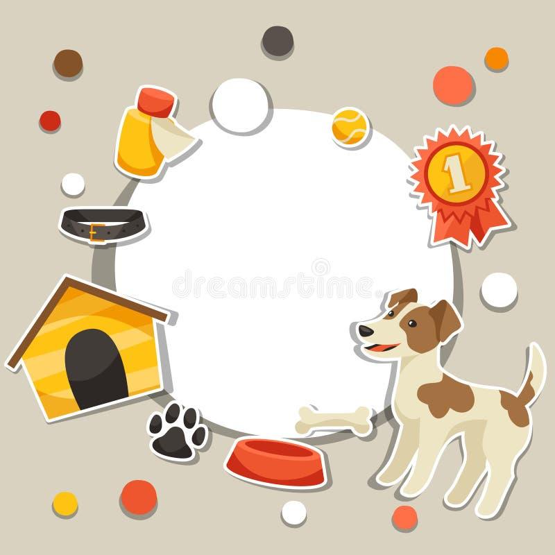 Fundo com o cão bonito da etiqueta, ícones e ilustração do vetor