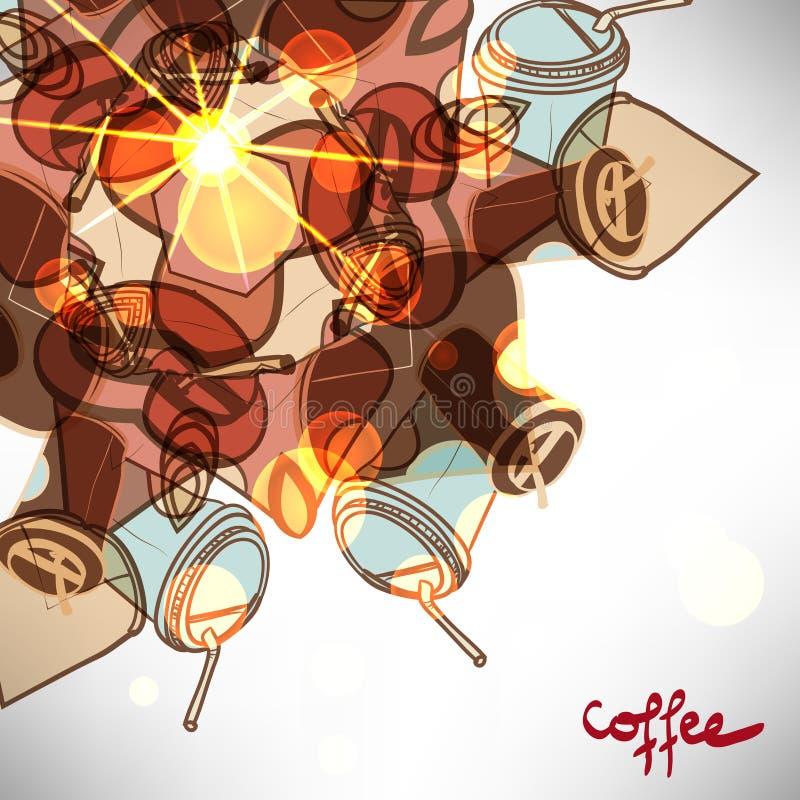 Fundo com o copo de café afastado abstrato ilustração do vetor