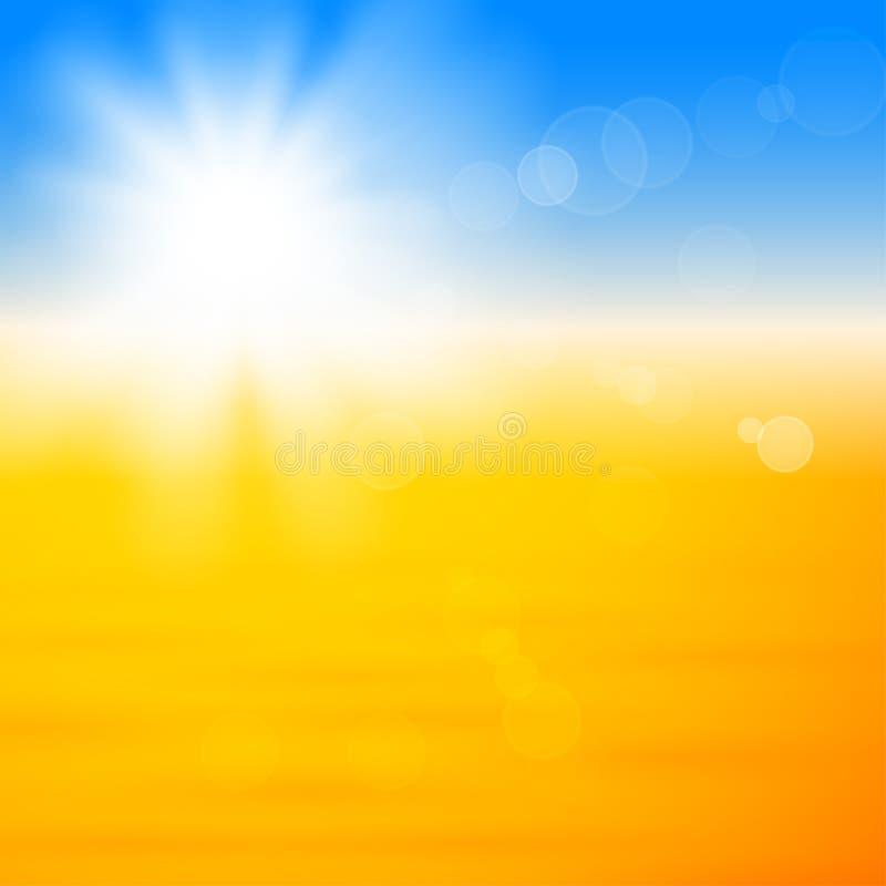 Fundo com o sol brilhante sobre a areia ilustração royalty free