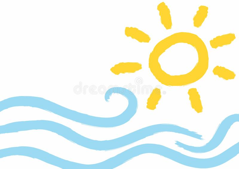 Fundo com ondas e sol tirado ? m?o com escova ?spera Imita??o do desenho da aquarela das crian?as Grunge, esbo?o, pintura ilustração royalty free